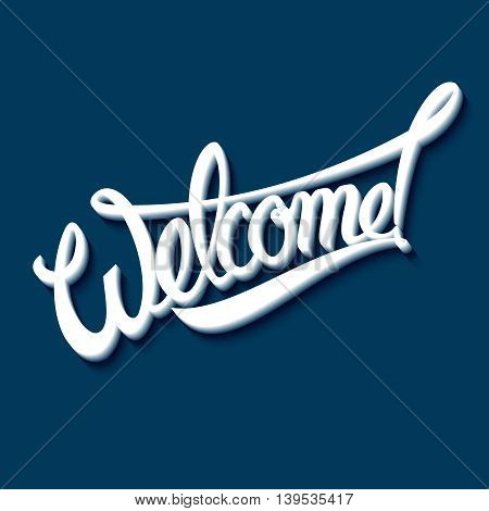 Welcome an inscription on a blue background. Vector illustration