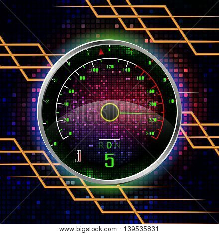 Illustration of Speedometer on 220 realistic background