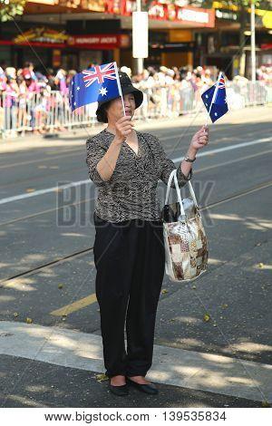 MELBOURNE, AUSTRALIA - JANUARY 25, 2016: Spectator during Australia Day Parade in Melbourne