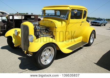 BROOKLYN, NEW YORK - JUNE 12, 2016: Historical 1928 Ford on display at the Antique Automobile Association of Brooklyn annual Spring Car Show
