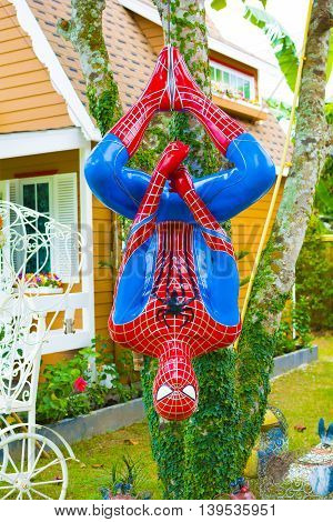 NAKORN-NAYOK THAILAND - JULY 19 2016. Spiderman model at To-Mang-Oh Resort.