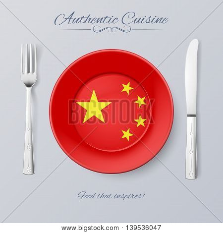 Authentic Cuisine of China. Plate with Chinese Flag and Cutlery