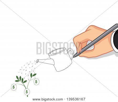 male hand cartoon writing Money tree concept