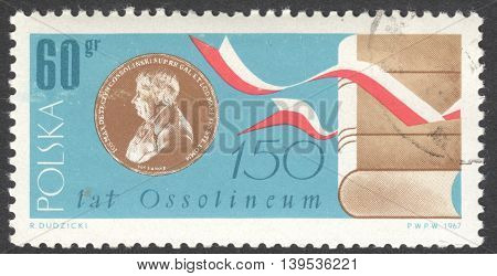MOSCOW RUSSIA - CIRCA JANUARY 2016: a post stamp printed in POLAND devoted to the 150th Anniversary of the Ossolineum the National Institute for Science and Culture circa 1967