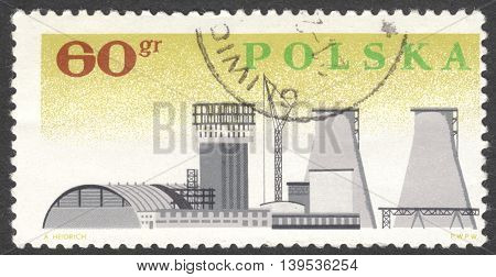 MOSCOW RUSSIA - CIRCA JANUARY 2016: a post stamp printed in POLAND shows an industrial ship the series