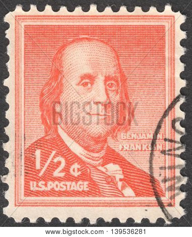 MOSCOW RUSSIA - JANUARY 2016: a post stamp printed in the USA shows a portrait of Benjamin Franklin by Joseph Duplessis the series