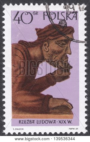 MOSCOW RUSSIA - CIRCA FEBRUARY 2016: a post stamp printed in POLAND shows a statue