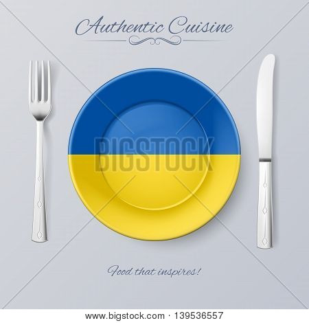 Authentic Cuisine of Ukraine. Plate with Ukrainian Flag and Cutlery