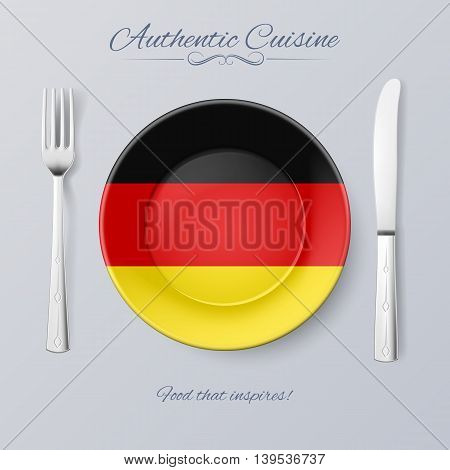 Authentic Cuisine of Germany. Plate with German Flag and Cutlery