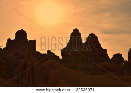 Beautiful golden sky with sunset , back-light,silhouettes