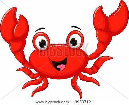funny cartoon crab smiling for you design