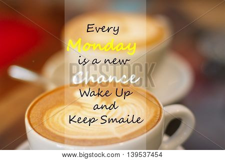 Every Monday Is A New Chance Wake Up And Keep Smile. Inspirational Quote In Blur A Cup Of Coffee On