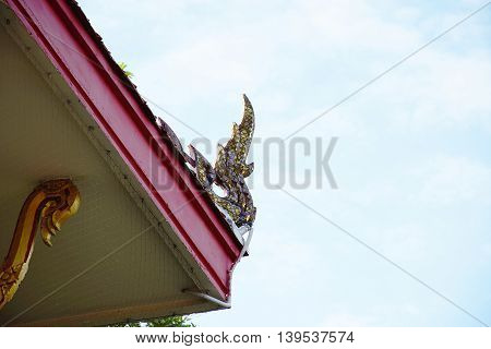 ornament and detail of architectural temple in Thailand. The Religious place.