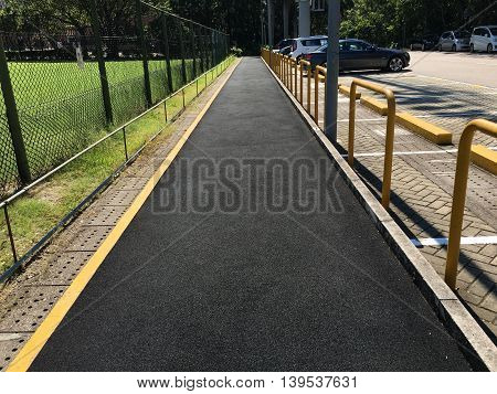 A view of a jogging track pathway