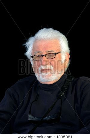 Silver Haired Man In Black