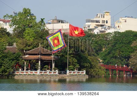 HANOI, VIETNAM - JANUARY 10, 2016: Ancient Temple on the lake Hoakim, sunny day. Historical landmark of the city Hanoi, Vietnam