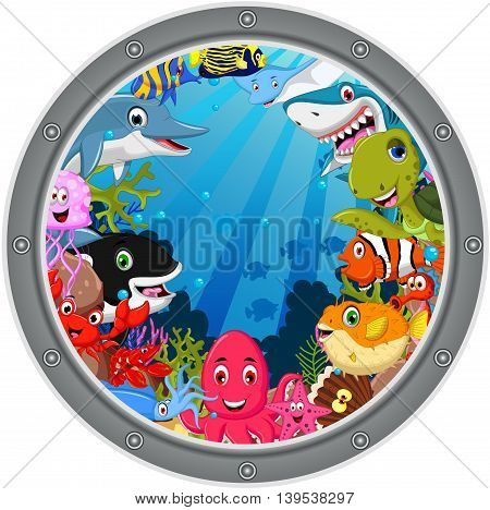 sea life cartoon set on the frame