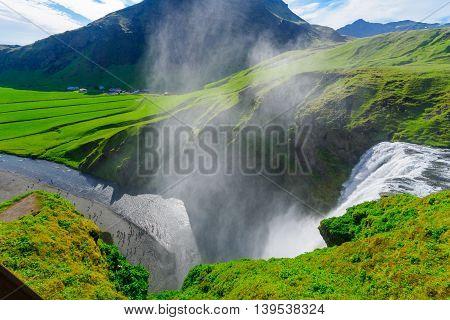 Skogafoss Waterfall, In South Iceland