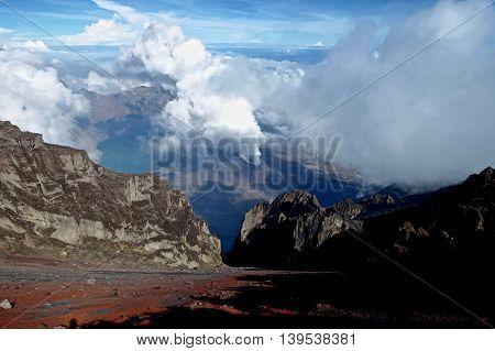 Mount Rinjani National Park in Lombok Island of Indonesia
