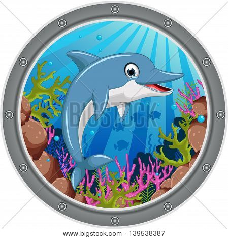 cute dolphin cartoon jumping on the frame