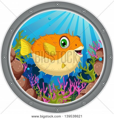 cute Blow fish cartoon on tge frame