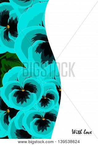 Greeting cards with blue violas in ethnic style for declarations of love a gift for a loved one or a donation for the holiday or other