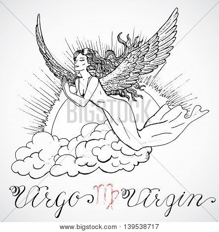 Hand drawn astrological zodiac sign Virgo. Line art vector illustration of engraved horoscope symbol. Flying girl or angel in sky. Doodle drawing and sketch with calligraphic lettering