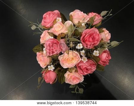 Rose Flower In Version Artificial Flowers Bouquet In Vase On Black Background