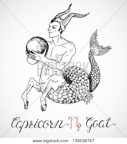 Hand drawn astrological zodiac sign Capricorn or Goat. Line art vector illustration of engraved horoscope symbol. Fantasy style. Doodle drawing and sketch with calligraphic lettering