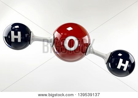 A 3D Illustration Molecule Of Water On A Grey Background