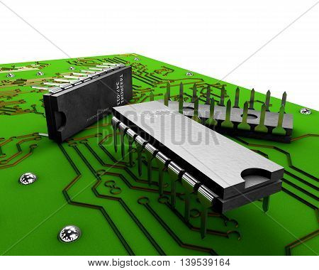 3D Transistor On The Green Plate On A White Background