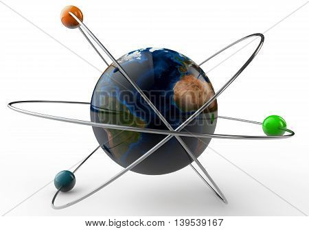 3d Illustration Earth in the atome on a white background