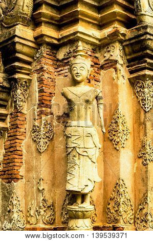 The carvings & sculptures of the ancient thai temples