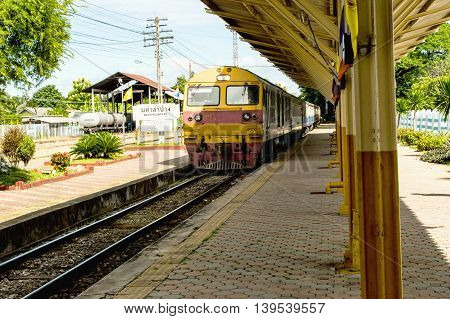 Railway station with train in Asia thailand