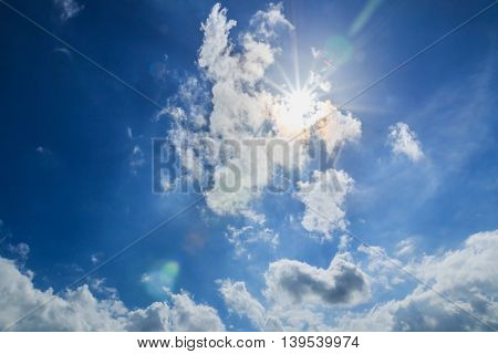 Blue sky with clouds and sun beam beautiful