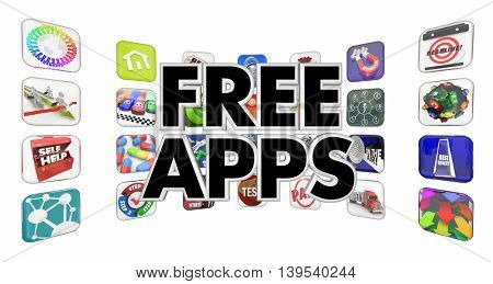Free Apps Mobile Programs Software Applicaiton Store 3d Illustration