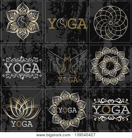 Set of icons illustrations and logo on the theme of yoga and healthy lifestyle. Gold and white