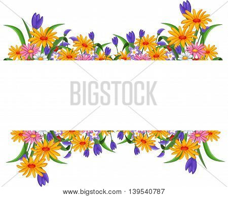 banner with flowers frame for you design