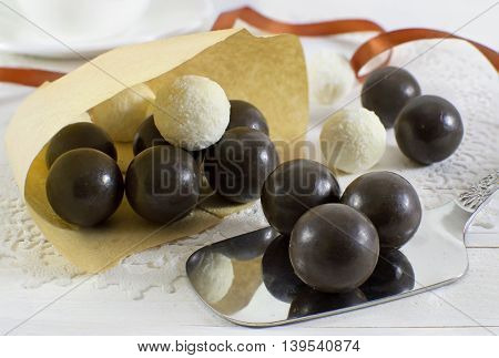Tasty sweet chocolate and coconut round candies
