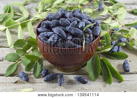 Wooden bowl with blue honeysuckle berries on wooden table