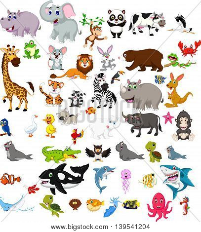 big animal cartoon set for you design