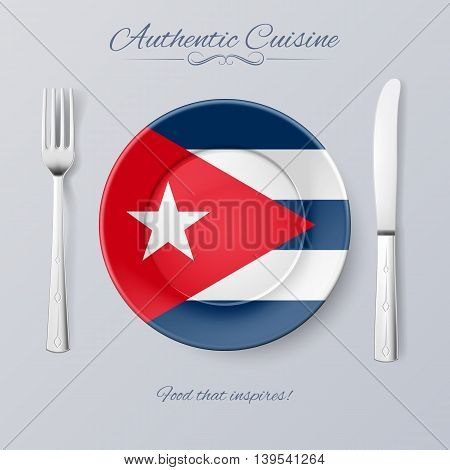 Authentic Cuisine of Cuba. Plate with Cuban Flag and Cutlery