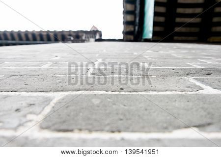 Looking Up At Grey Brick Wall ,texture Background