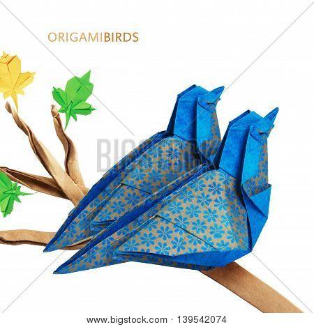 Origami Blue Birds Couple