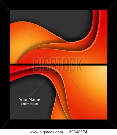 Vector wavy colorful business cards set. Elements for design, annual reports, brochures. Eps10