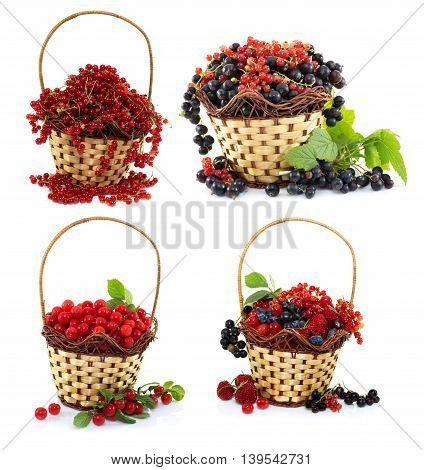 Collection of summer berries in cute baskets isolated on white