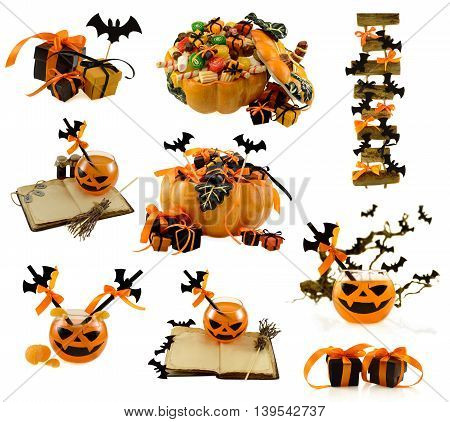 Isolated collection of Halloween decorations, treats, gifts and drinks