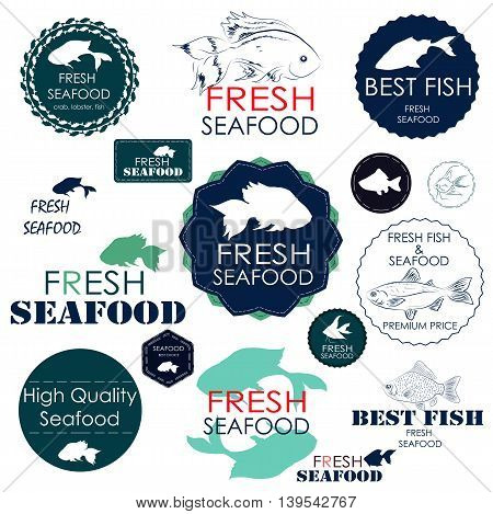 Set badges and stickers for the seafood industry such as cafes restaurants and shops with sea food and seafood sales