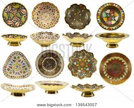 Big set with traditional Indian plates isolated on white
