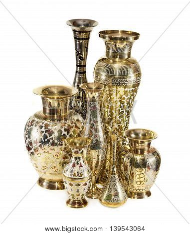 Group of beautiful Indian vases isolated on white